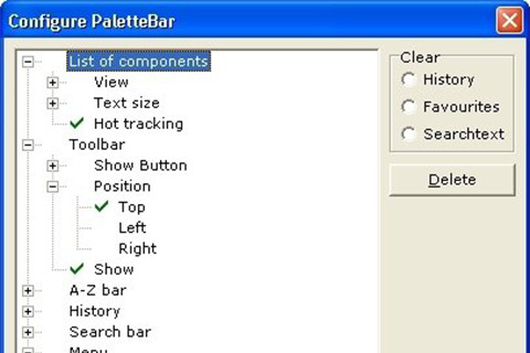 With the new designed configure dialog, you can configure PaletteBar for your individual needs